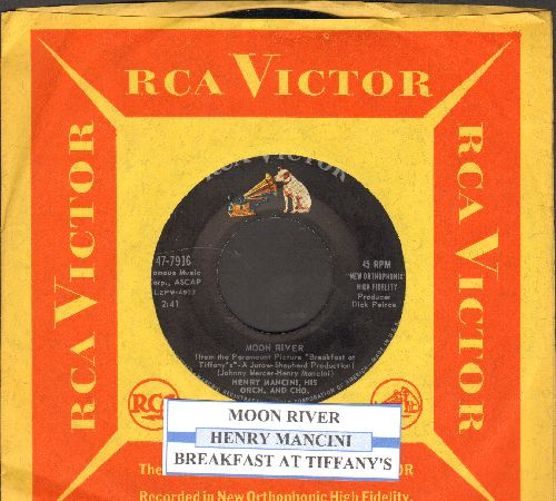 Mancini, Henry & His Orchestra - Moon River/Breakfast At Tiffany's (with juke box label and RCA company sleeve) - NM9/ - 45 rpm Records