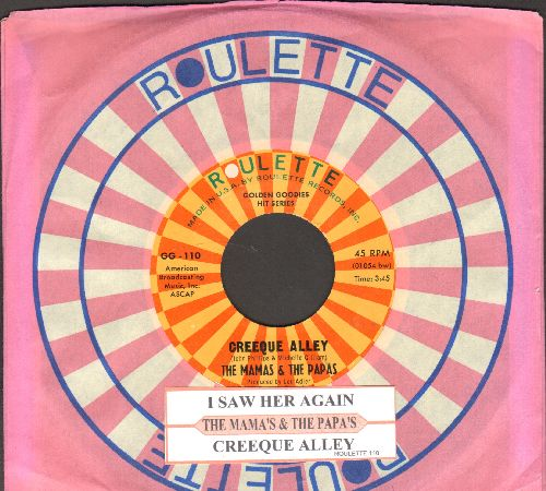 Mamas & Papas - Creeque Alley/I Saw Her Agaim (double-hit re-issue with juke box label and Roulette company sleeve) - NM9/ - 45 rpm Records