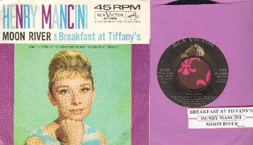 Mancini, Henry & His Orchestra - Moon River/Breakfast At Tiffany's (with picture sleeve and juke box label) - EX8/VG7 - 45 rpm Records