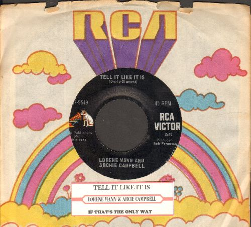 Mann, Lorene & Archie Campbell - Tell It Like It Is/If That's The Only Way (with juke box label and RCA company sleeve) - NM9/ - 45 rpm Records