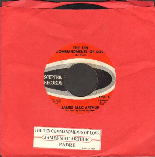 MacArthur, James - The Ten Commandments Of Love/Padre (Co-Star of TV Series Hawaii Five-O) (with juke box label) - VG7/ - 45 rpm Records