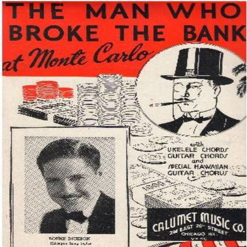 Dickson, Bobby - The Man Who Broke The Bank At Monte Carlo - SHEET MUSIC for the classic novelty song (this is SHEET MUSIC, not any other kind of media!) - VG7/ - Sheet Music