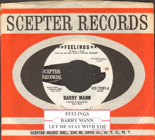 Mann, Barry - Feelings/Let Me Stay With You (DJ advance pressing with juke box label and Scepter company sleeve) - NM9/ - 45 rpm Records