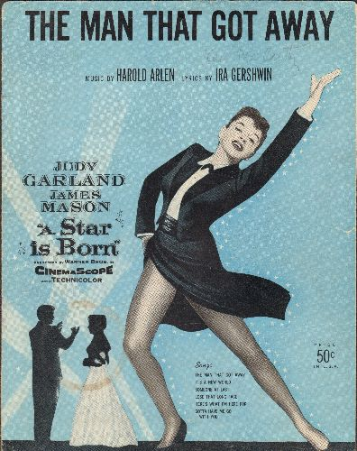 Garland, Judy - The Man That Got Away - Vintage SHEET MUSIC for the song featured in 1954 film -A Star Is Born- (BEAUTIFUL cover art of Star Judy Garland!) - EX8/ - Sheet Music