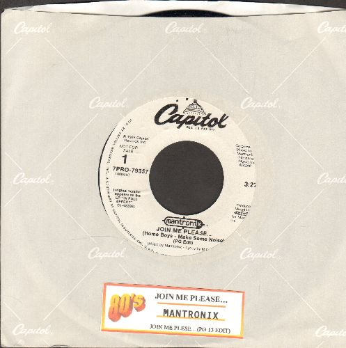 Mantronix - Join Me Please…(Home Boys - Make Some Noise) (PG and PG13 Version, RARE Reggae/Hip-Hop Collectible DJ advance pressing with juke box label and Capitol company sleeve) - M10/ - 45 rpm Records