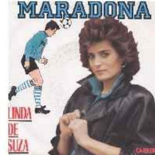 De Suza, Linda - Maradona/Nos yeux font l'amour (French Pressing with picture sleeve, sung in French, with lyrics on back of picture sleeve) (Hit song is a tribute to star soccer player Maradona, much celebrated leader of 1986 World Cup Winner Argentina)