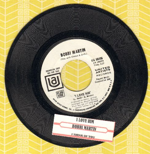Martin, Bobbi - I Love Him/I Think Of You (DJ advance pressing with juke box label) - NM9/ - 45 rpm Records