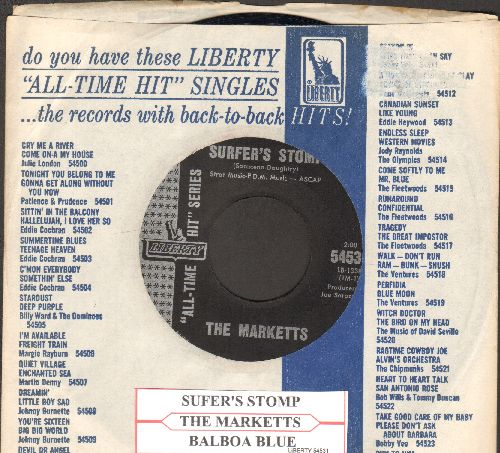 Marketts - Surfer's Stomp/Balboa Blue (early double-hit re-issue with juke box label and company sleeve) - NM9/ - 45 rpm Records