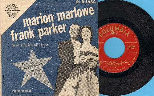 Marlowe, Marion & Frank Parker - One Night Of Love/Blue Moon/The Man I Love/I've Told Ev'ry Little Star (Vinyl EP record with picture cover) - EX8/EX8 - LP Records