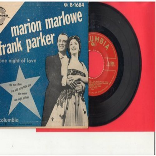 Marlowe, Marion & Frank Parker - One Night Of Love/The Man I Love/Blue Moon/I've Told Ev'ry Little Star (Vinyl EP record with picture cover) - NM9/EX8 - 45 rpm Records