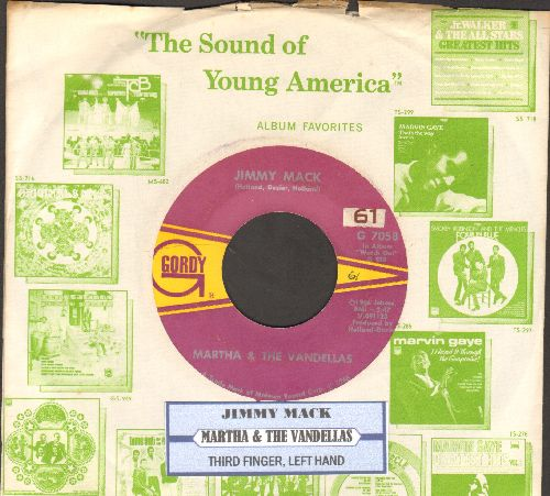 Martha & The Vandellas - Jimmy Mack/Third Finger, Left Hand (with juke box label and company sleeve) - EX8/ - 45 rpm Records