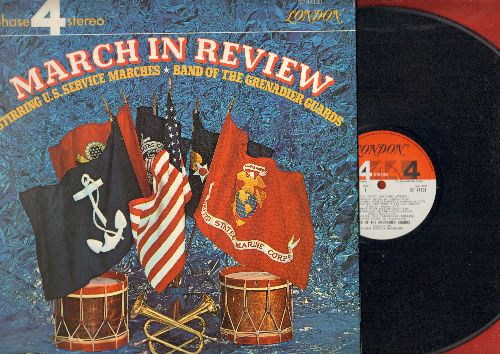 Band Of The Grenadier Guards - March In Review - Stirring U.S. Service Marches: Anchors Away, Semper Paratus, She Wore A Yellow Ribbon, Wild Blue Yonder, others (vinyl STEREO LP record, gate-fold cover) - NM9/NM9 - LP Records