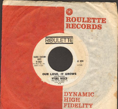 March, Myrna - Our Love, It Grows/Warm Are Your Lips (RARE DJ advance pressing with Roulette company sleeve, deep scratch at beginning, overall condition still very good) - VG7/ - 45 rpm Records