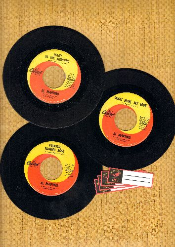 Martino, Al - Al Martino 3-Pack of first issue 45s. Hits include Painted Tainted Rose, What Now My Love and Mary In The Morning. Shipped in plain white paper sleeves with 4 blank juke box labels. - EX8/ - 45 rpm Records