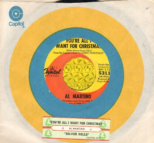 Martino, Al - Silver Bells/You're All I Want For Christmas (with Capitol company sleeve and juke box label) - EX8/ - 45 rpm Records