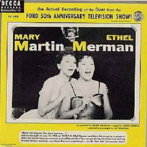 Martin, Mary & Ethel Merman - Ford 50th Anniversary TV Show - Duets by Mary Marti and Ethel Merman (Vinyl EP record with picture cover) - EX8/EX8 - 45 rpm Records