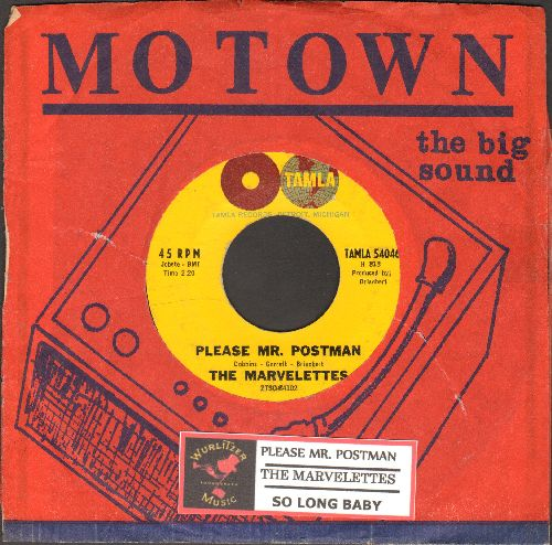 Marvelettes - Please Mr. Postman/So Long Baby (with Motown company sleeve and juke box label) - VG7/ - 45 rpm Records
