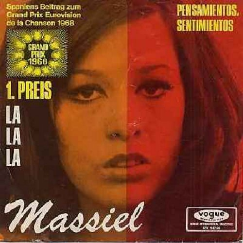 Massiel - La, La, La (WINNER Grand Prix Eurovision 1968, Spain's Entry!)/Pensamientos, Sentimentos (German Pressing with picture sleeve, sung in Spanish) - EX8/EX8 - 45 rpm Records