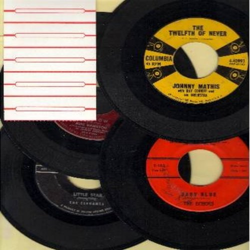 Hamilton, Russ, Elegants, Johnny Mathis, Echoes - Dreamy Oldies 4-Pack: First issue 45s, all in very good or better condition. Hits include: Rainbow, The Twelfth Of Never, Baby Blue, Little Star. Shipped in plain white paper sleeves, with 5 blank juke box