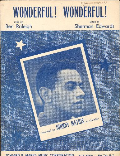 Mathis, Johnny - Wonderful! Wonderful! - Vintage SHEET MUSIC for the Johnny Mathis Classic (NICE cover portrait!) - VG7/ - 45 rpm Records