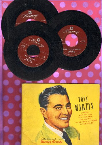 Martin, Tony - Tony Martin - Sardust/Body And Soul/Tea For Two/Old Black Magic, I'll See You In My Dreams/As Time Goes By. 3 45rpm record in album. NICE condition! - NM9/EX8 - 45 rpm Records