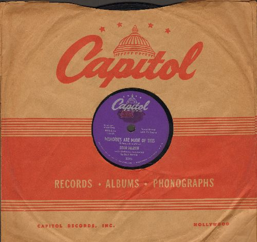 Martin, Dean - Memories Are Made Of This/Change Of Heart (10 inch 78 rpm record with vintage Capitol company sleeve) - EX8/ - 78 rpm