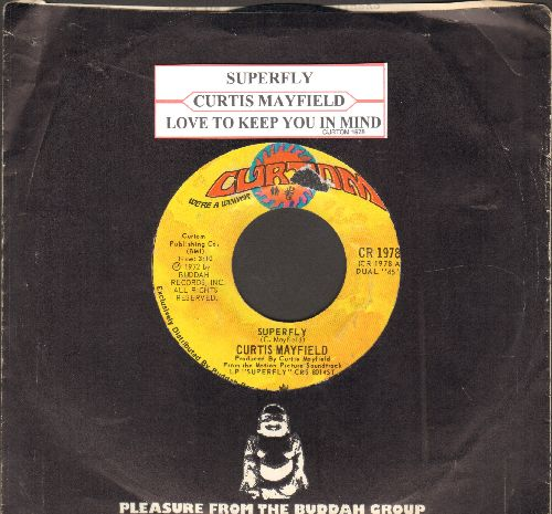 Mayfield, Curtis - Superfly/Love To Keep You In My Mind (with juke box label and Buddah company sleeve) - EX8/ - 45 rpm Records