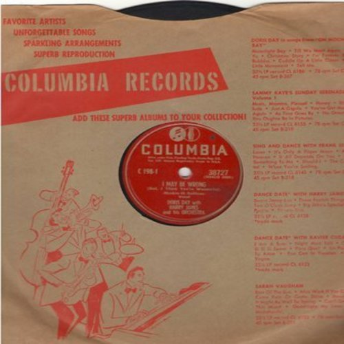 Day, Doris - I May Be Wrong/Get Happy (with Harry James & His Orchestra) (10 inch 78 rpm record with Columbia company sleeve) - VG7/ - 78 rpm
