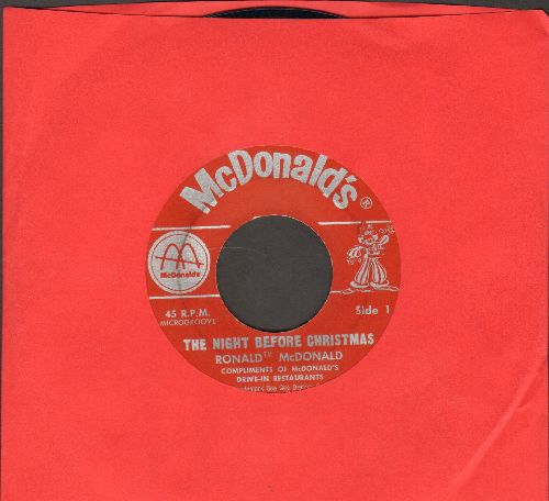 McDonald, Ronald - The Night Before Christmas - Spoken Words of the Christmas Classic, Compliments of McDonald's Drive-In restaurants - VG7/ - 45 rpm Records