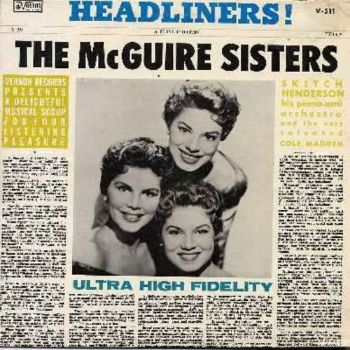 McGuire Sisters - Headliners!: Perky Patricia, To A Wild Rose, Talking To Myself, Babbett, I Just Went Along For The Ride (Vinyl LP record) - NM9/EX8 - LP Records