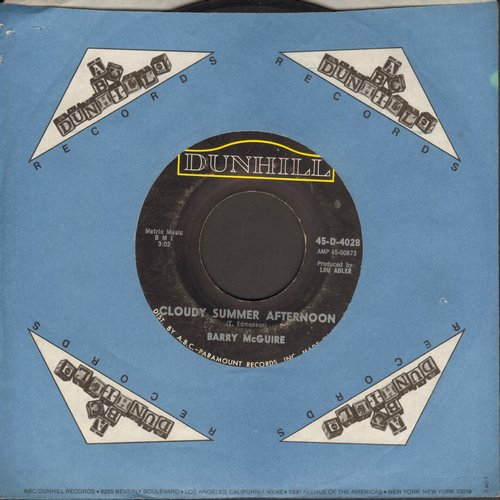 McGuire, Barry - Cloudy Summer Afternoon/I'd Have To Be Outta My Mind (with company sleeve)(wol) - VG7/ - 45 rpm Records