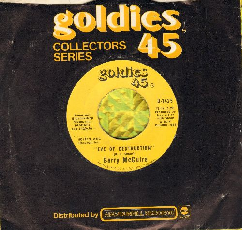 McGuire, Barry - Eve Of Destruction (SIGNATURE SONG of the 1960s EQUAL RIGHTS/ANTI-WAR MOVEMENT)/Child Of Our Times (double-hit re-issue with company sleeve) - NM9/ - 45 rpm Records