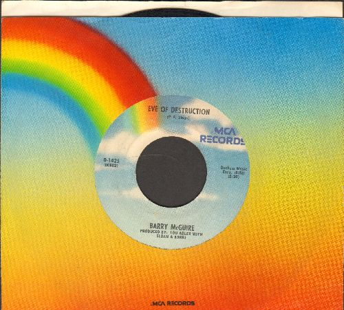 McGuire, Barry - Eve Of Destruction (SIGNATURE SONG of the 1960s EQUAL RIGHTS/ANTI-WAR MOVEMENT)/Child Of Our Times (rainbow-label double-hit re-issue with MCA company sleeve) - EX8/ - 45 rpm Records