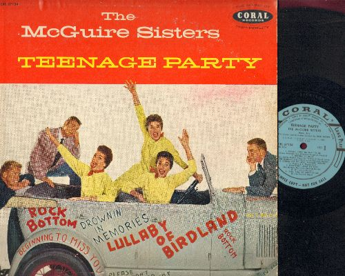 McGuire Sisters - Teenage Party: Please Don't Do That To Me, Goodnight My Love (Pleasant Dreams), Rock Bottom, Lullaby Of Birdland, Everybody Loves My Baby (vinyl MONO LP record, DJ advance pressing) - EX8/VG7 - LP Records
