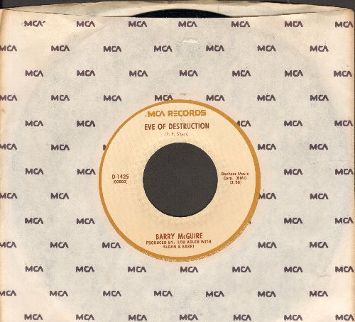 McGuire, Barry - Eve Of Destruction (SIGNATURE SONG of the 1960s EQUAL RIGHTS/ANTI-WAR MOVEMENT)/Child Of Our Times (double-hit re-issue with MCA company sleeve) - VG7/ - 45 rpm Records