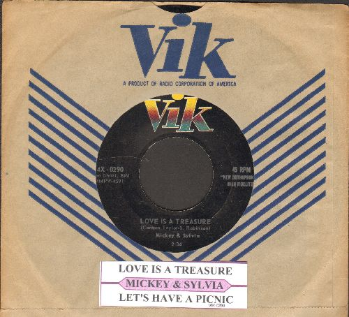 Mickey & Sylvia - Love Is A Treasure/Let's Have A Picnic (with juke box label and RARE vintage Vik company sleeve) - EX8/ - 45 rpm Records