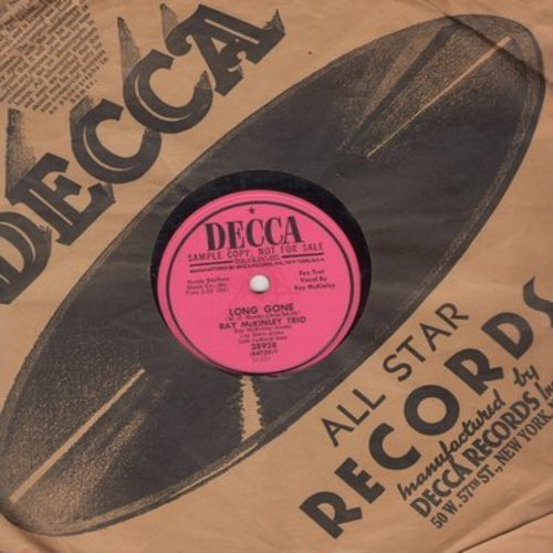 McKinley, Ray Trio - Long Gone/Memphis Blues (FANTASTIC W. C. Handy two-sider, 10 inch 78 rpm record with Decca company sleeve) - EX8/ - 78 rpm