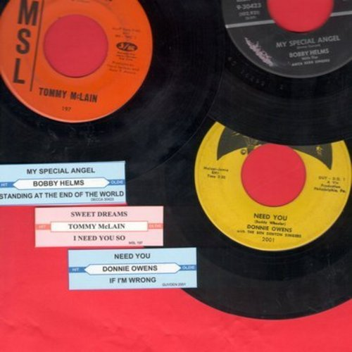 Owens, Donnie, Bobby Helms, Tommy McLain - Juke Box Trio #1103: First issues in very good or better condition, includes hits Need You, My Special Angel and Sweet Dreams. With customized juke box labels, great set for a Juke Box! - VG7/ - 45 rpm Records