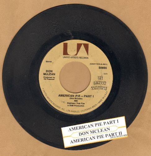 McLean, Don - American Pie (Bye Bye Miss American Pie) (Parts 1+2) (PARTY SING-ALONG FAVORITE! - with juke box label) - VG7/ - 45 rpm Records