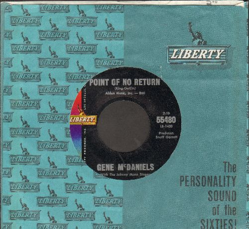 McDaniels, Gene - Point Of No Return/Warmer Than A Whisper (with vintage Liberty company sleeve) - EX8/ - 45 rpm Records