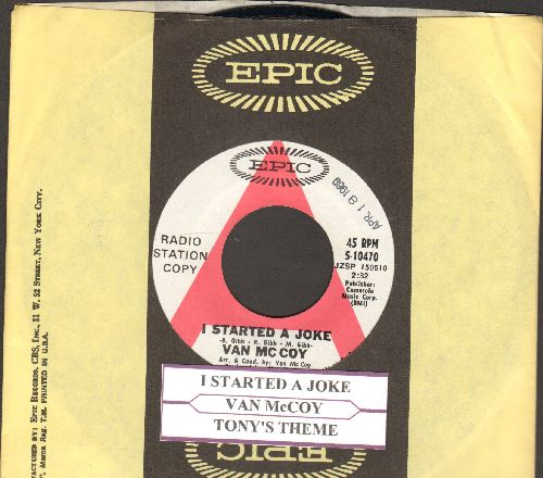 McCoy, Van - I Started A Joke (Soul version of the Bee Gees Classic)/Tony's Theme (DJ advance pressing with Epic company sleeve and juke box label) - NM9/ - 45 rpm Records