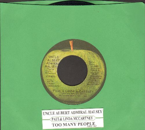 McCartney, Paul & Linda - Uncle Albert/Admiral Halsey/Too Many People (with juke box label) - VG7/ - 45 rpm Records