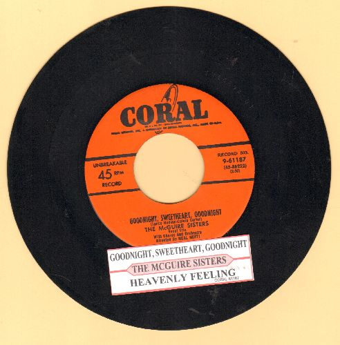 McGuire Sisters - Goodnight My Love, Pleasant Dreams (ENCHANTING version of the R&B Classic!)/Mommy (with juke box label) - EX8/ - 45 rpm Records
