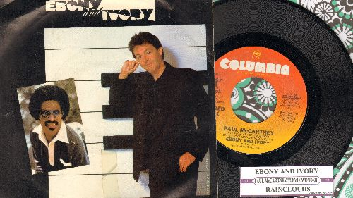 McCartney, Paul & Stevie Wonder - Ebony & Ivory/Rainclouds (with juke box label and picture sleeve) - NM9/EX8 - 45 rpm Records