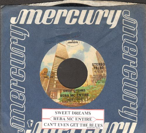 McEntire, Reba - Sweet Dreams (VERY NICE new version of Patsy Cline Classic)/Can't Even Get The Blues (with juke box label and Mercury company sleeve) - VG7/ - 45 rpm Records