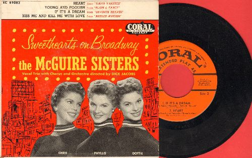 McGuire Sisters - Sweathearts On Broadway: Heart/Young And Foolish/If It's A Dream/Kiss Me And Kill Me With Love (vinyl EP record with picture cover) - NM9/VG7 - 45 rpm Records