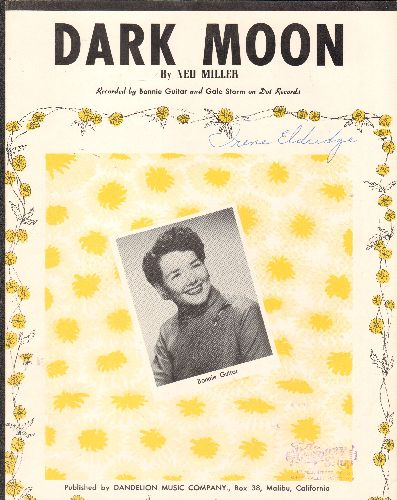 Guitar, Bonnie - Dark Moon - Vintage SHEET MUSIC for the song made popular by Bonnie Guitar - EX8/ - Sheet Music