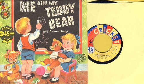 Leslie, Bobby & The Cricketones - Me And My Teddy Bear/Animal Songs (by Jerry Rood and full cast & orchestra on flip-side) (with picture sleeve) - EX8/EX8 - 45 rpm Records