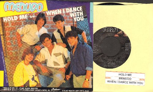 Menudo - Hold Me/When I Dance With You (with juke box label and RARE picture sleeve featuring a pre-teen Ricky Martin, NICE condition!) - NM9/NM9 - 45 rpm Records