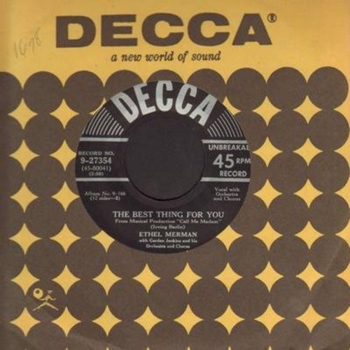 Merman, Ethel - The Best Thing For You/Marrying For Love (with vintage Decca company sleeve) - EX8/ - 45 rpm Records